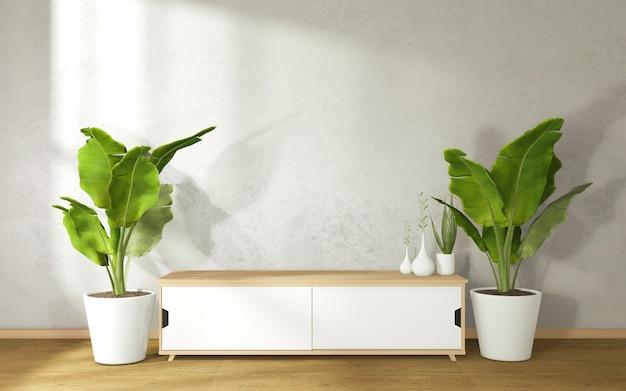 Schrank dekoriert mit pflanzentöpfen auf beiden seiten im modernen zen wohnzimmer.3d rendering