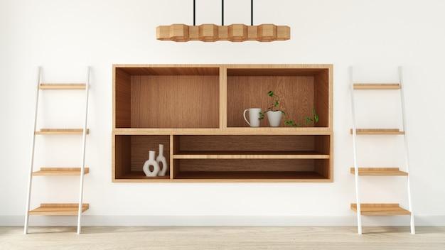 Schrank im modernen leeren raum im japanischen stil, minimalistisches design. 3d-rendering