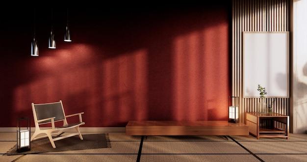 Schrank im wohnzimmer mit roter wand und sessel. 3d-rendering