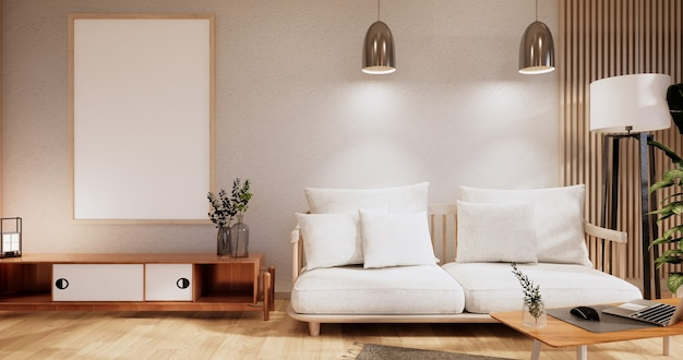 Schrank im wohnzimmer mit tatami-mattenboden und sofa-sessel-design. 3d-rendering