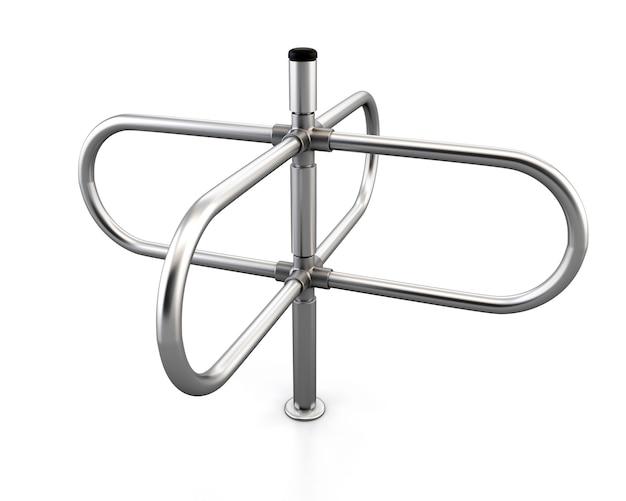 Schrauben tourniquet isoliert auf weiß. 3d-rendering. drehkreuz aus metall.