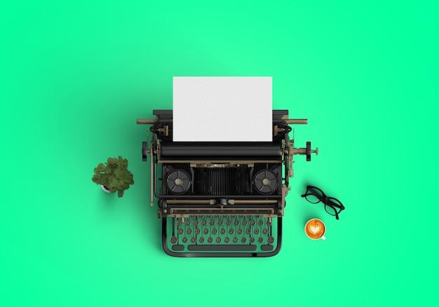 Schreibmaschine auf grünem hintergrund
