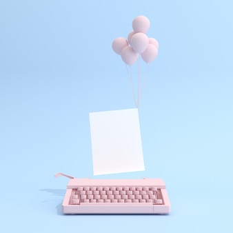 Schreibmaschine und weißes leeres papier mit luftballons auf blauem hintergrund