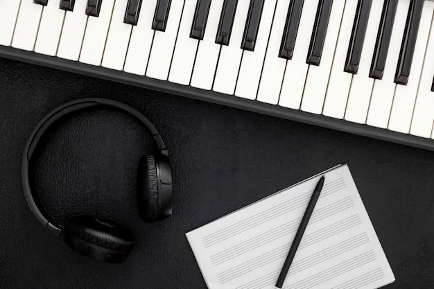 Schreibtisch des musikers für songwriter-arbeit mit synthesizer eingestellt