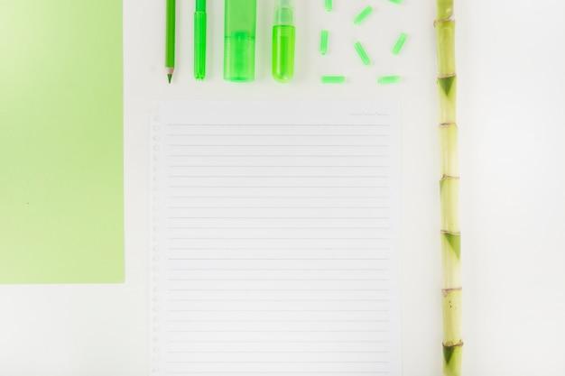 Schreibwaren; seite und bambusstamm auf doppelpapierhintergrund