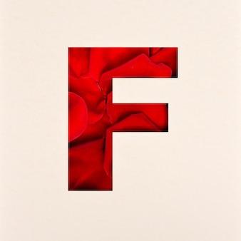 Schriftdesign, abstrakte alphabetschrift mit rosenblättern, realistische blumentypographie - f.