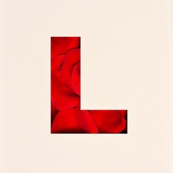 Schriftdesign, abstrakte alphabetschrift mit rosenblättern, realistische blumentypographie - l.