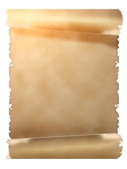 Schriftrolle aus altem pergament. objekt isoliert über weiß