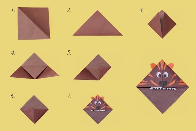 Schritte zur herstellung des origami-lesezeichensymbols des tigers des neuen jahres 2022. diy-konzept.