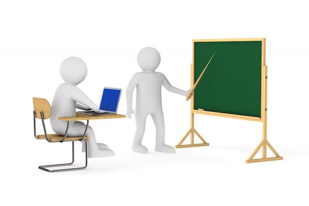Schüler und lehrer. isoliertes 3d-rendering