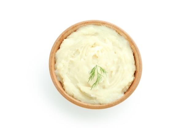 Schüssel mit kartoffelpüree isoliert auf weiß