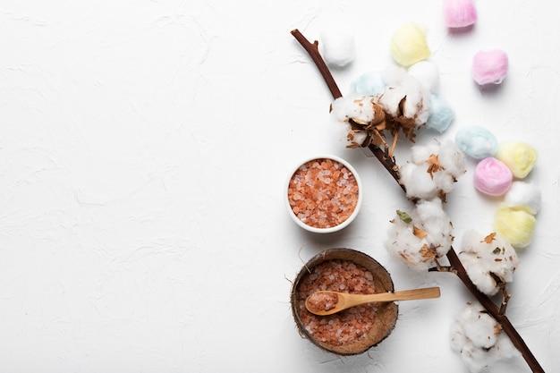 Schüsseln mit natürlichem salz und baumwollzweig
