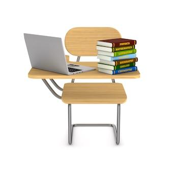 Schulbank, stapelbücher und laptop auf weißem hintergrund. isolierte 3d-darstellung