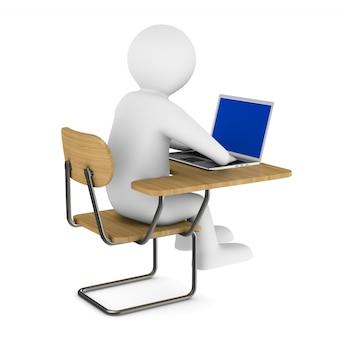 Schulbank und laptop. isoliertes 3d-rendering
