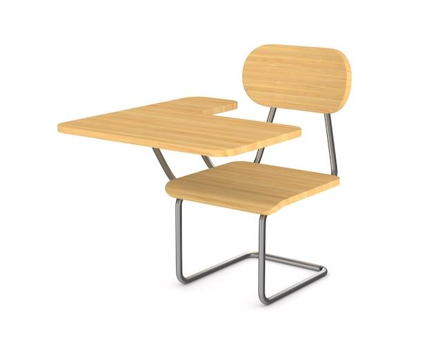 Schulbank und stuhl. isoliertes 3d-rendering