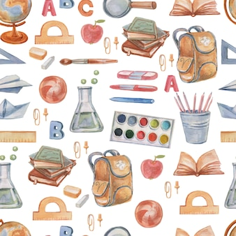 Schule schulbedarf set clipart aquarell von hand