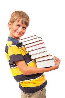 Schuljunge hält bücher