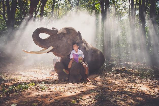 Schuljunge spielt im dschungel mit seinem freund elefanten