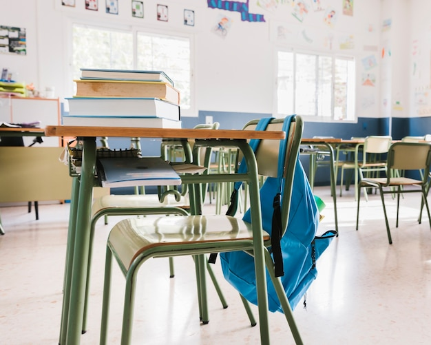Schulklassenzimmer mit büchern und rucksack