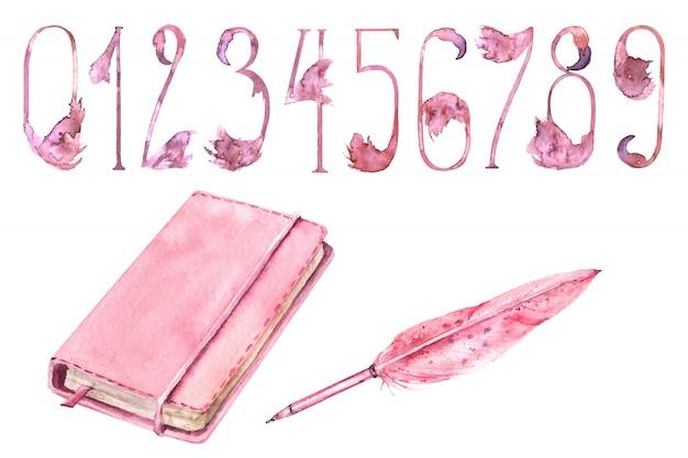 Schulmädchen pink supplies aquarell set