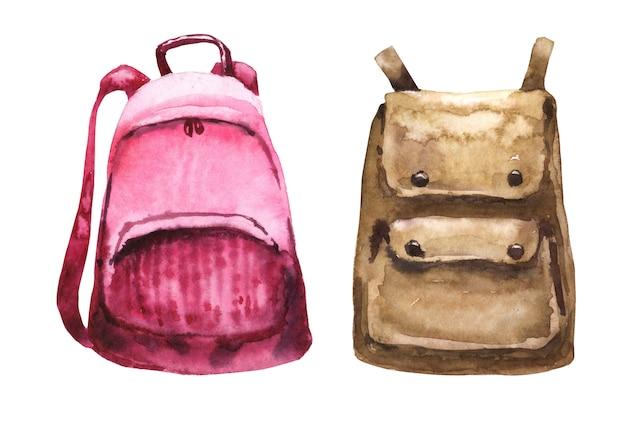 Schulmaterial-aquarell-set. rosa texstile rucksack. brauner leder rucksack