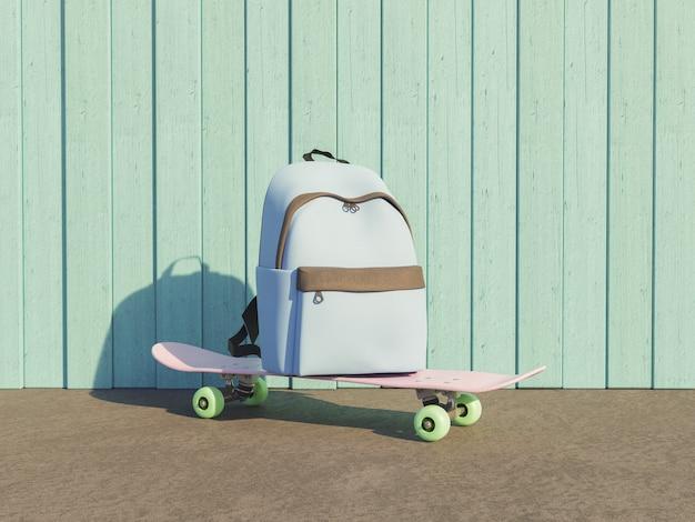 Schulrucksack auf einem skateboard mit retro-pastellfarben und holzwandhintergrund mit außenbeleuchtung. zurück zum schulkonzept. 3d-rendering