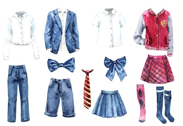 Schuluniform aquarell set. zurück zur schule. college kleidung icolated