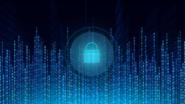 Schutz des digitalen cyberspace und des konzepts digitaler daten. abstrakte technologie, cyberspace und binärcode.