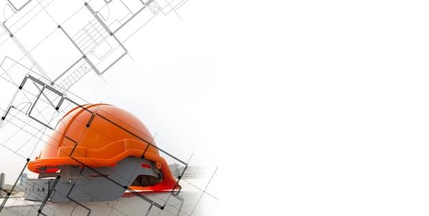 Schutzhelm des architekten oder ingenieurs und grundrisslinien