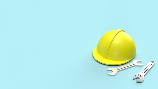 Schutzhelm und schraubenschlüssel auf blauem 3d-rendering für arbeitstaginhalte