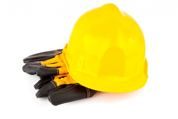 Schutzhelm und schutzhandschuhe