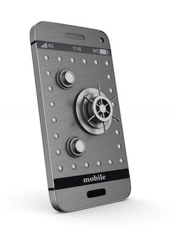 Schutztelefon auf weißem hintergrund. isolierte 3d-illustration