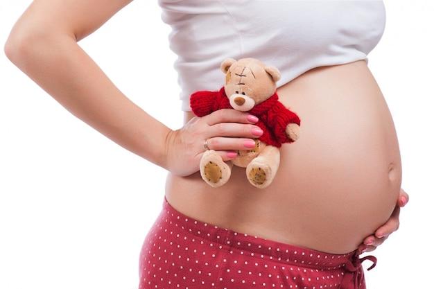 Schwangere mutter, die ihren bauch zeigt und einen teddybären anhält