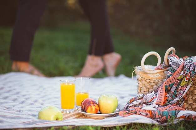 Schwangere paare auf picknick. frucht und eine korbnahaufnahme