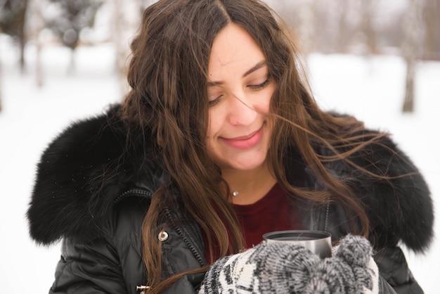 Schwangerschaft, getränke, winter, menschen und erwartung
