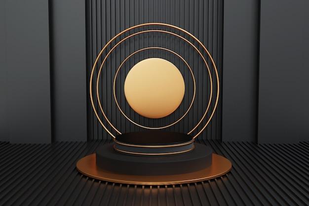 Schwarz-gold-podium auf schwarz, geometrie-podiumform für display-produkt