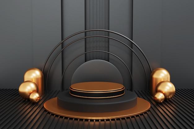 Schwarz-gold-podium auf schwarzem hintergrund, geometrie-podiumform für anzeigeprodukt, 3d-rendering.