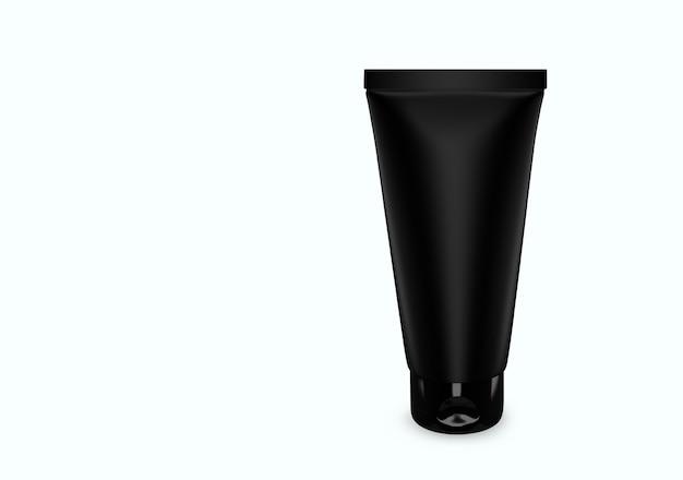 Schwarz mattes scrub tube mockup vom hintergrund isoliert: scrub tube package design. leere hygiene-, medizin-, körper- oder gesichtspflegevorlage. 3d-darstellung