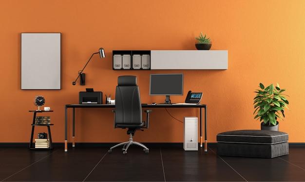 Schwarz-orange home office