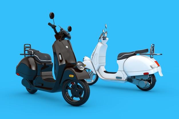 Schwarz und weiß classic vintage retro oder elektroroller auf blauem hintergrund 3d-rendering