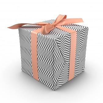 Schwarz-weiß-geschenkbox mit rosa schleife