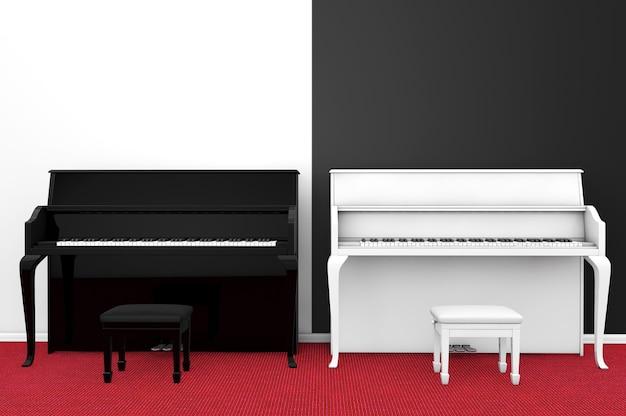 Schwarz-weiß-klavier mit stuhl gegen eine leere schwarz-weiße wand
