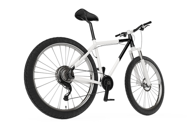 Schwarz-weiß-mountainbike auf weißem hintergrund. 3d-rendering