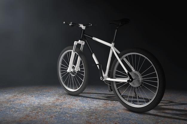 Schwarz-weiß-mountainbike im volumetrischen licht auf schwarzem hintergrund. 3d-rendering