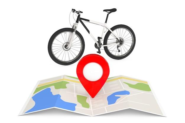 Schwarz-weiß-mountainbike in der nähe gefalteter abstrakter navigationskarte mit kartenzeiger-pin auf weißem hintergrund. 3d-rendering
