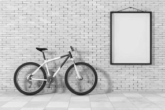 Schwarz-weiß-mountainbike vor backsteinmauer mit blank frame extreme nahaufnahme. 3d-rendering