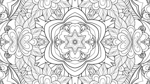 Schwarz-weiß-muster, das blumen und blätter färbt. geometrischer schöner hintergrund papierpflanze malbuch