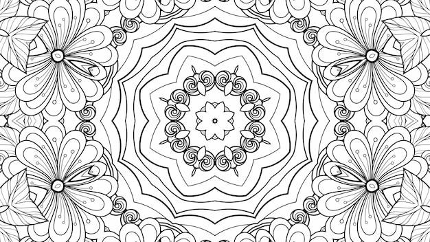 Schwarz-weiß-muster zum färben von blumen und blättern