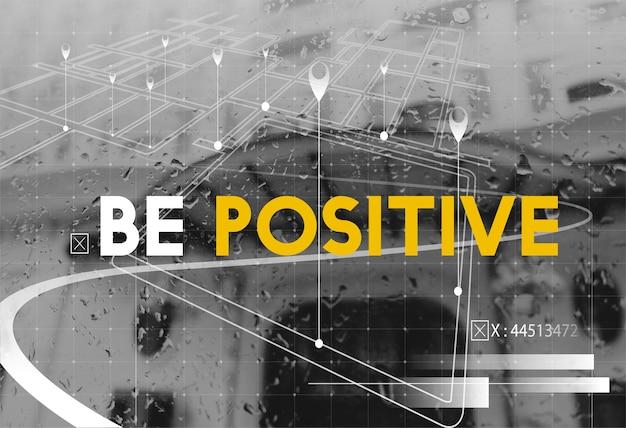 Schwarz-weiß-stil mit dem positiven konzeptwort