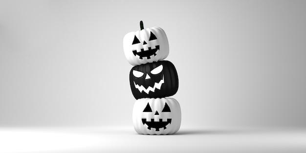 Schwarz-weiße jack o lantern banner kürbisse auf weißem hintergrund textfreiraum 3d-darstellung